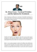 Dr. Brian Evans - Forehead Wrinkles and the Options for Treatment