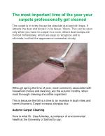 The most important time of the year your carpets professionally get cleaned