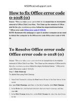 Fix office error code 0-1018 (0) | MSOfficeLiveSupport
