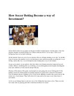How Soccer Betting Become a way of Investment?