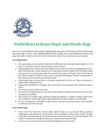 Uses of Paper and Plastic Bags