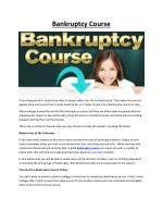 Bankruptcy Course