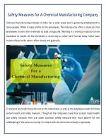 Some Common Safety Measures for A Chemical Manufacturing Company in India