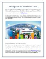 The expectation from smart cities