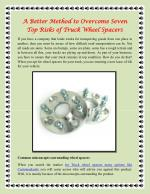 A Better Method to Overcome Seven Top Risks of Truck Wheel Spacers