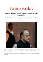Tax kitty to exceed Budget estimate in 2016-17, says Arun Jaitley