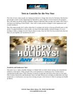 Tests to Consider for the New Year