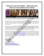 Discount Lace Front Wigs – Add Grace And Charm to Your Style of Your Choice