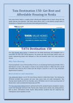 Tata Destination 150 - Get Best and Affordable Housing in Noida