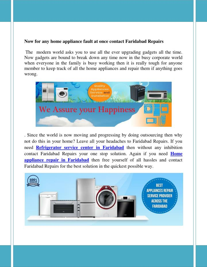 PPT - Now for any home appliance fault at once contact Faridabad