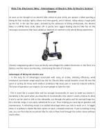 Ride The Electronic Way : Advantages of Electric Bike & Electric Seated Scooter