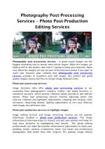 Photography Post-Processing Services – Photo Post-Production Editing Services