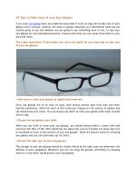 10 Tips to Take Care of Your Eye Glasses