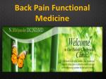 Back Pain Functional Medicine