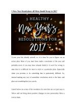 5 New Year Resolutions all Men should Keep in 2017