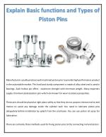 Explain Basic Functions and Types of Piston Pins