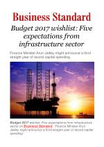 Budget 2017 wishlist: Five expectations from infrastructure sector