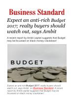 Expect an anti-rich Budget 2017; realty buyers should watch out, says Ambit