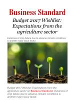 Budget 2017 Wishlist: Expectations from the agriculture sector