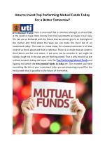 How to Invest Top Performing Mutual Funds Today For a Better Tomorrow