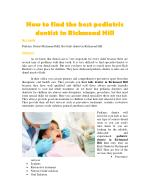 How to find the best pediatric dentist in Richmond Hill