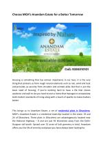 Choose MGH's Anandam Estate for a Better Tomorrow
