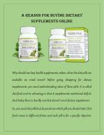 A Reason for Buying Dietary Supplements Online