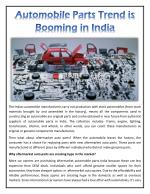 Automobile Parts Trend is Booming in India