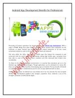 Android App Development Benefits for Professionals