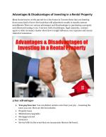 Advantages & Disadvantages of Investing in a Rental Property