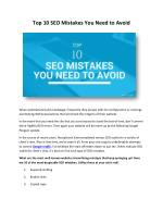 Top 10 SEO Mistakes You Need to Avoid