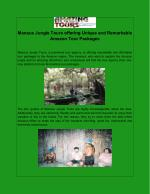 Manaus Jungle Tours offering Unique and Remarkable Amazon Tour Packages