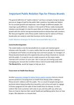 Fitness public relations tips for owners of fitness brands
