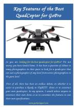 Key Features of the Best QuadCopter for GoPro