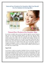 Natural Face Products For Sensitive Skin You Should Use For Radiant & Glowing Skin