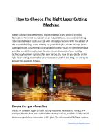 How to Choose The Right Laser Cutting Machine