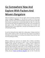 Go Somewhere New And Explore With Packers And Movers Bangalore