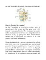 Cervical Myelopathy Symptoms, Diagnosis and Treatment