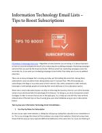 Information Technology Email Lists – Tips to Boost Subscriptions