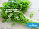 Coriander leaves benefits for elders