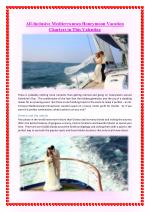 All-Inclusive Mediterranean Honeymoon Vacation Charters in This Valentine