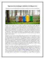 Important facts about paper and plastic recycling services