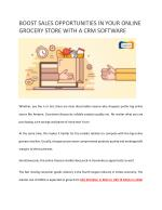 Boost Sales Opportunities in Your Online Grocery Store with a CRM Software
