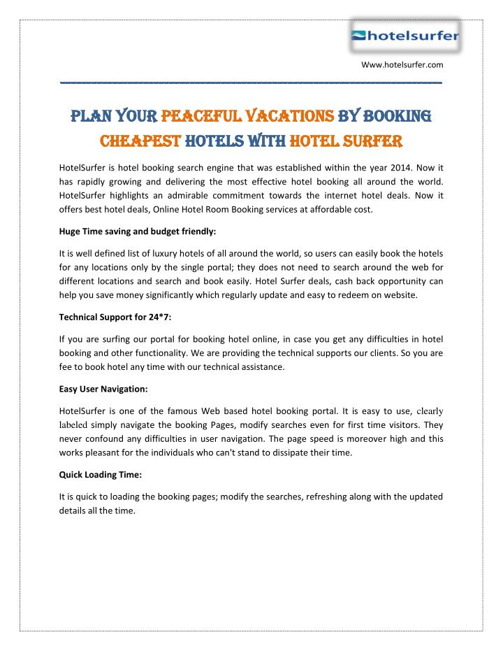 Ppt Plan Your Peaceful Vacations By Booking Cheapest Hotels With Hotelsurfer Powerpoint Presentation Id 7506355