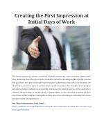 Creating the First Impression at Initial Days of Work