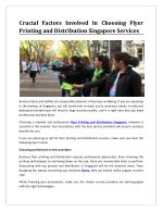 Crucial Factors Involved In Choosing Flyer Printing and Distribution Singapore Services