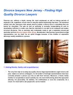 Divorce lawyers New Jersey - Finding High Quality Divorce Lawyers