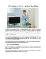4 Office Cleaning Tips for a Spick and Span Office