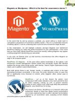 Which ecommerce platform is best for your ecommerce stores ? Magento or Wordpress