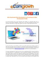 Hire Dedicated Web Developers for Ecommerce Web Development India